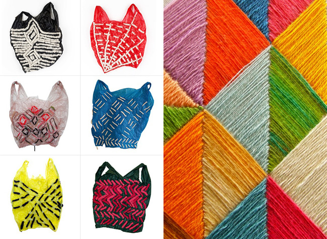 embroidered plastic bags and color grid