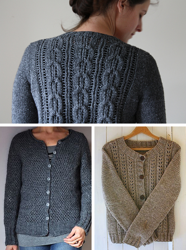 slightly lacy cardigan knitting patterns