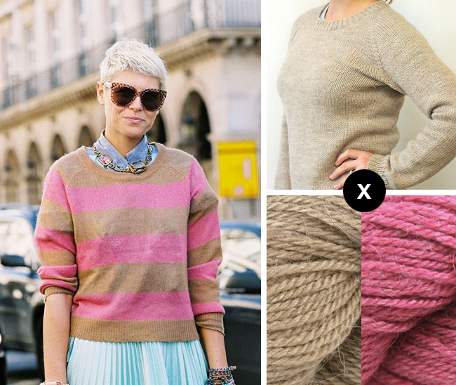 how to knit Elisa Nalin's pink striped sweater