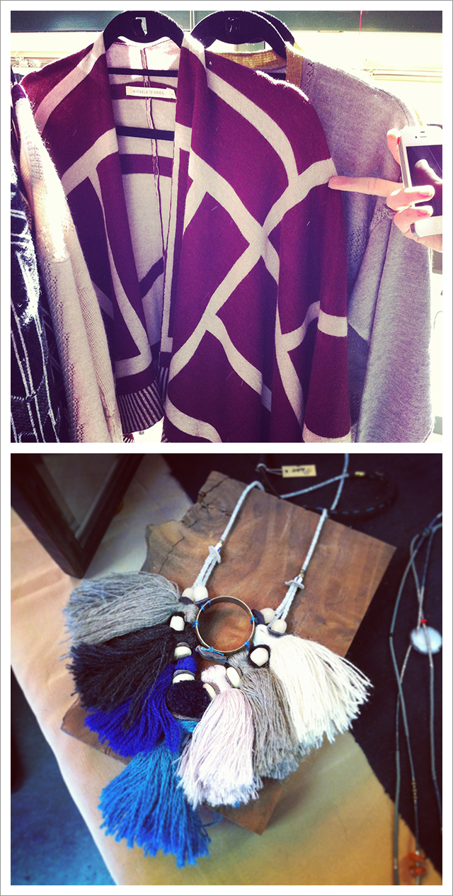 Micaela Greg wrap and Ariel Clute necklace seen at Marquee Salon pop-up in Oakland