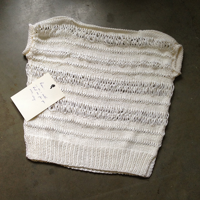 sweater knitted by meg strong
