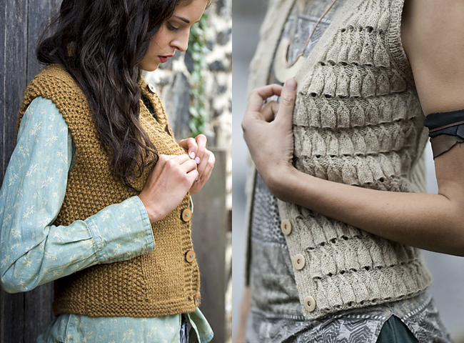 New Favorites: Textured sweater vest knitting patterns from Kelbourne Woolens and Helga Isager