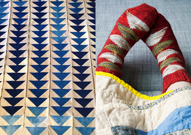 Flying Geese quilt and socks