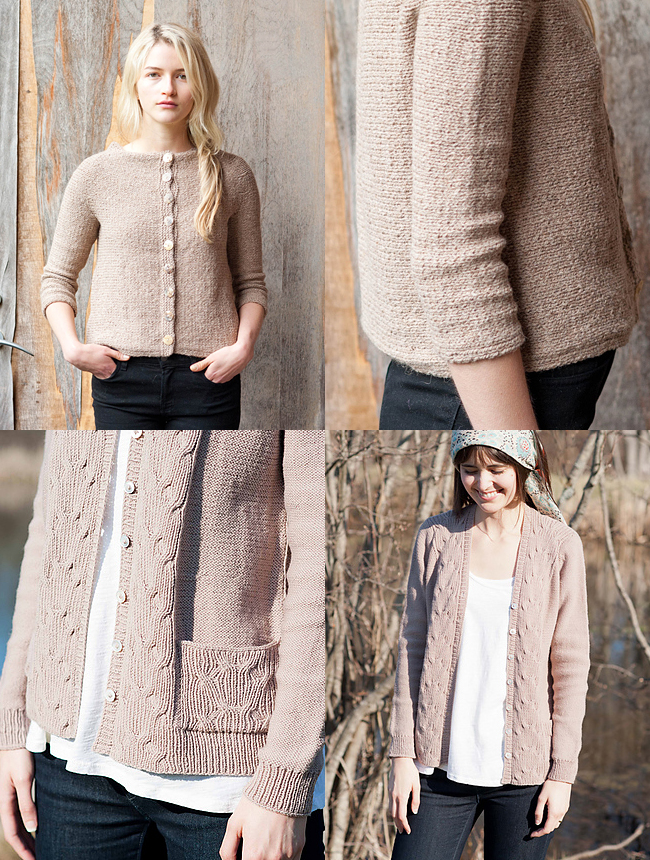 New cardigan patterns from Quince and Company, Hypatia and Marlena