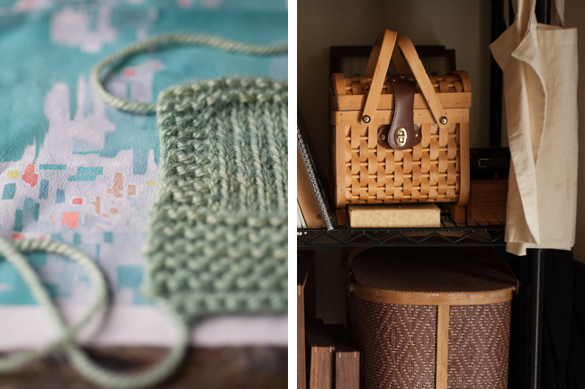 Swatches and baskets of knit designer Carrie Bostick Hoge