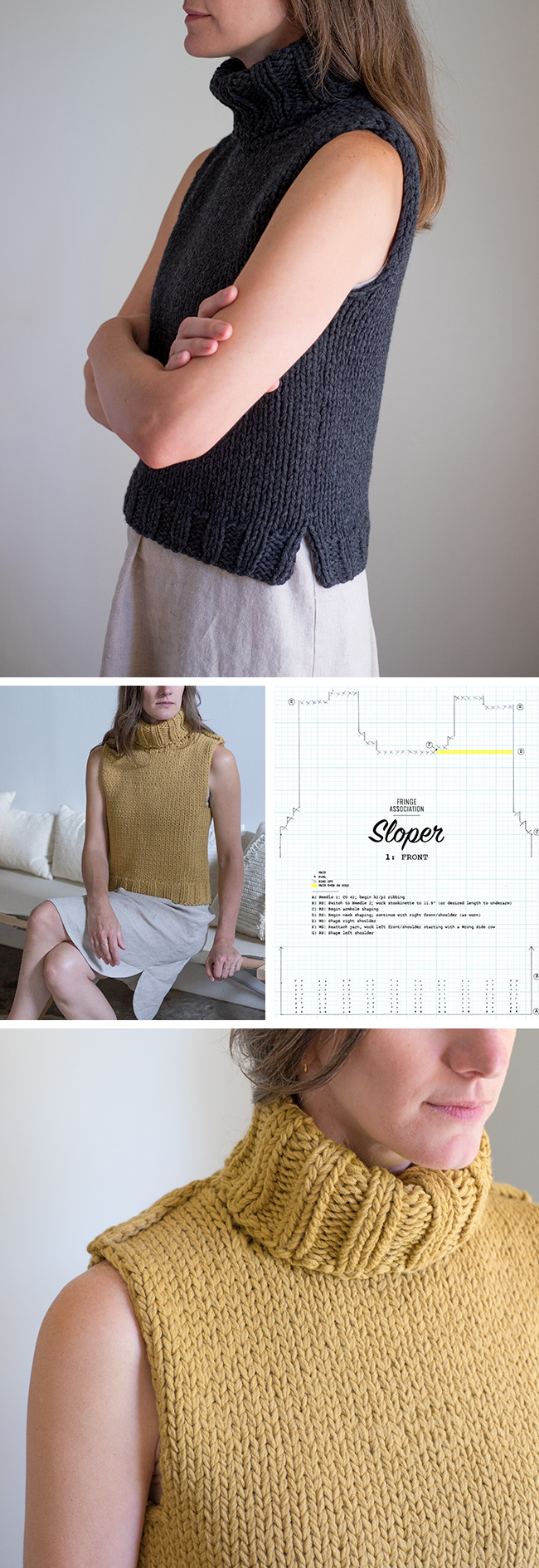 Sloper: Basic pattern for a sleeveless sweater - free pattern