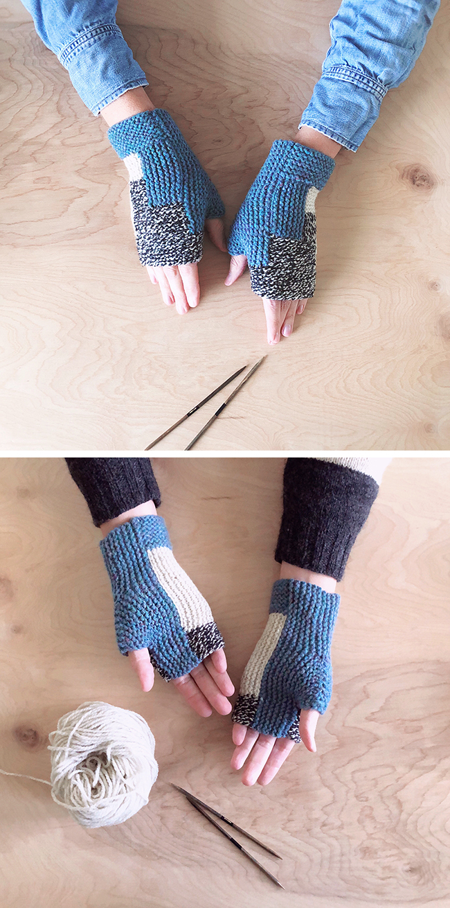 Black and bluish Log Cabin Mitts (free pattern)