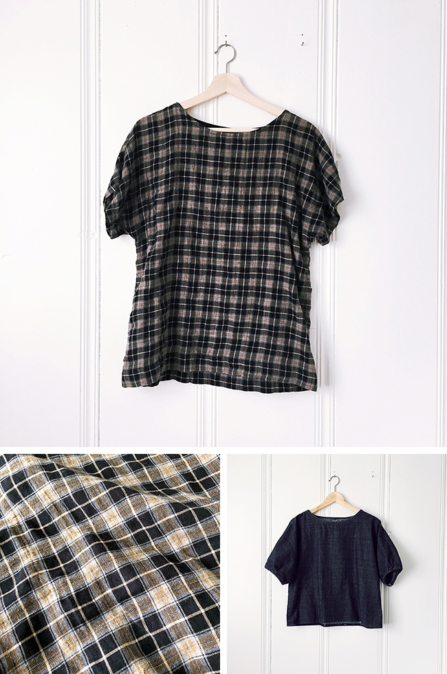 Belated FOs: The plaid tee and black puff sleeve