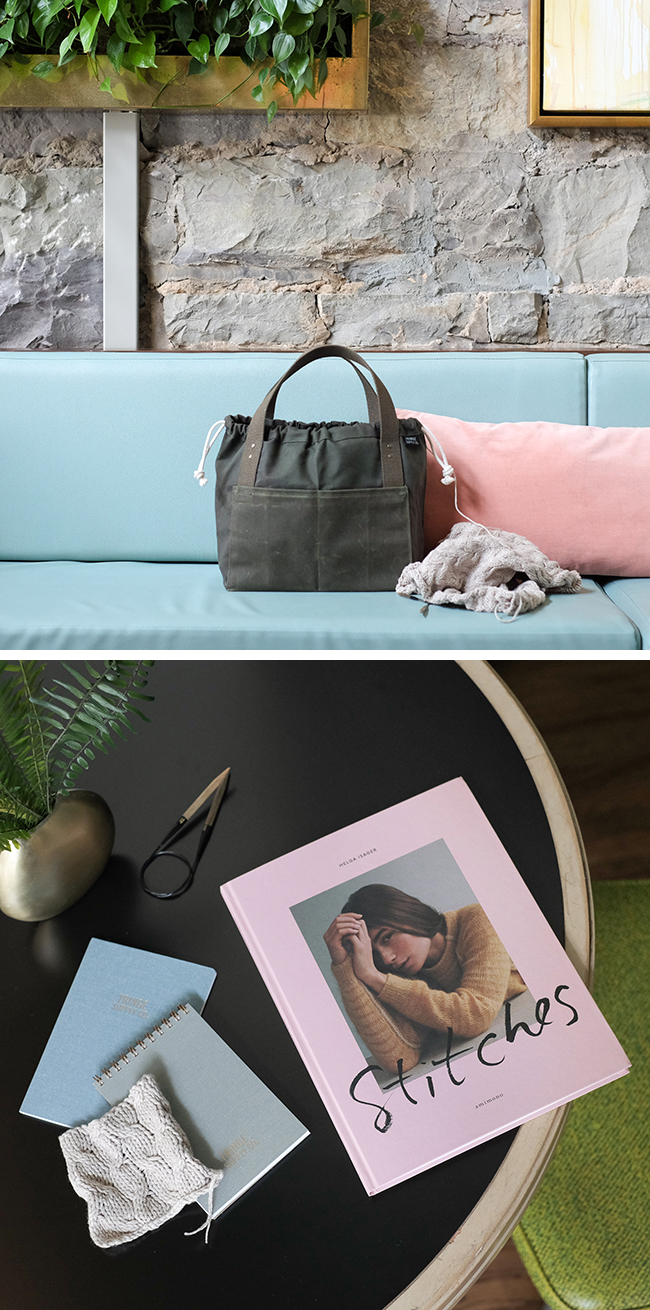 """NEW! Olive Town Bag + Helga Isager """"Stitches"""" book"""