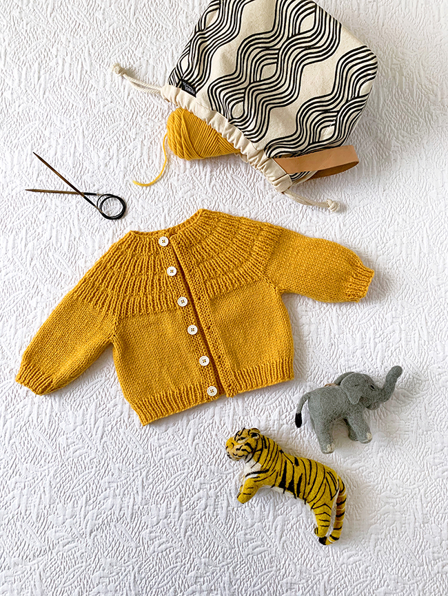 baby Anker's cardigan sweater (knitting pattern) with Jen Hewett x Fringe Field Bag