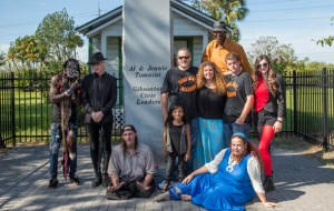 """""""Freakshow"""" Cast pose by monument honoring Al and Jeanie Tomaini, billed """"the world's strangest couple."""" Al was a giant, and Jeanie, """"the half girl."""""""