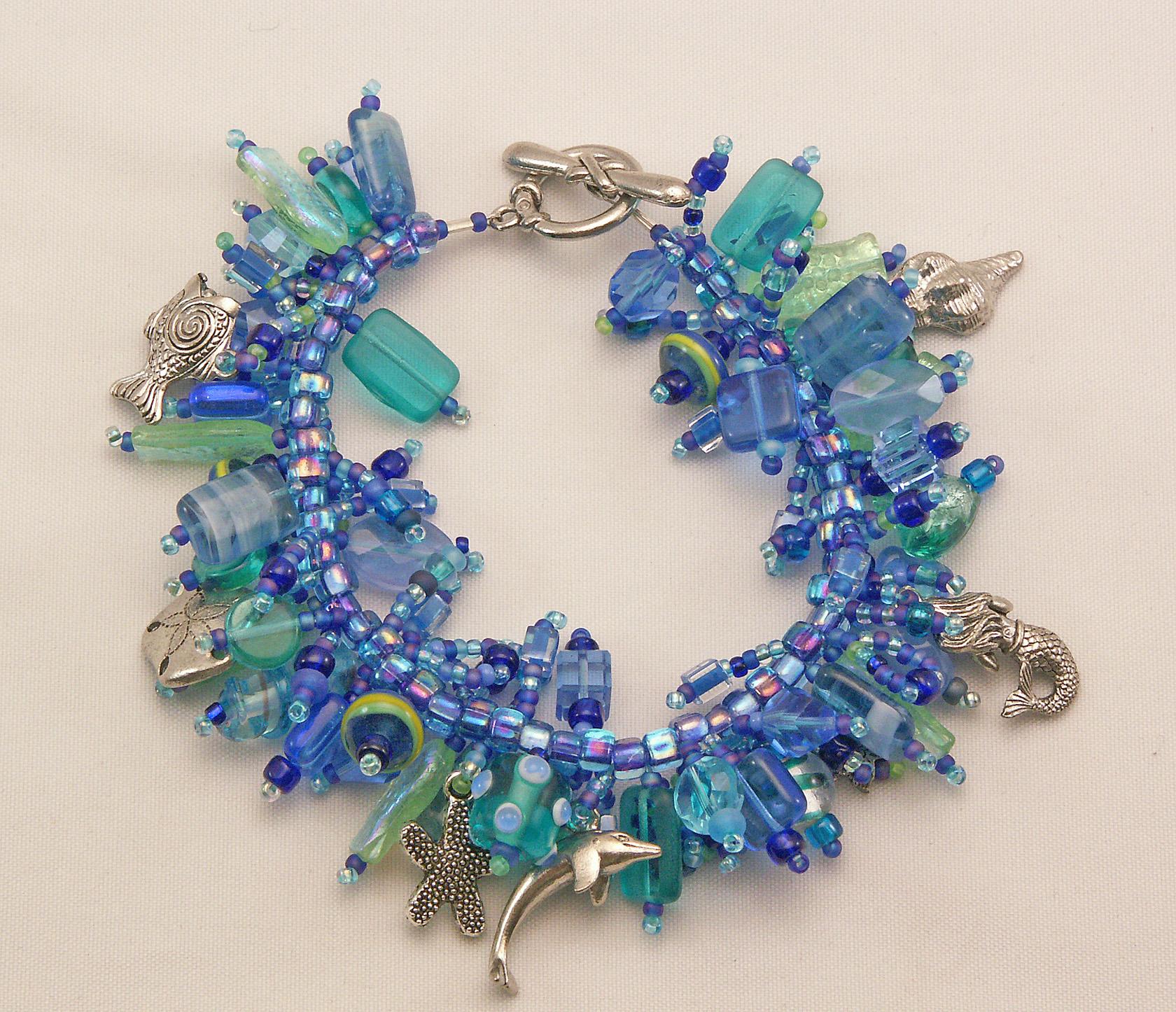 """Bracelet Bead Kit /""""Elephant Walk/"""" Blue glass beads /& pewter charms Fringe Magic"""