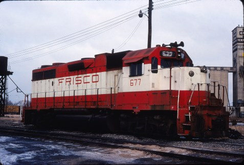 GP38-2 677 at Enid, Oklahoma on December 23, 1980 (Gene Gant)