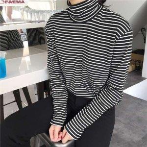 Women Harajuku T Shirt Striped Women Long Sleeve T-shirt Turtleneck Female T-shirt Summer Elegant Loose Casual Tees Large Size
