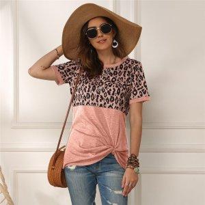 Leopard T-shirt Women Patchwork Top Summer Short Sleeve Tee Shirts Women Clothes 2020 New Tie Tops Tee Female 2xl Tee