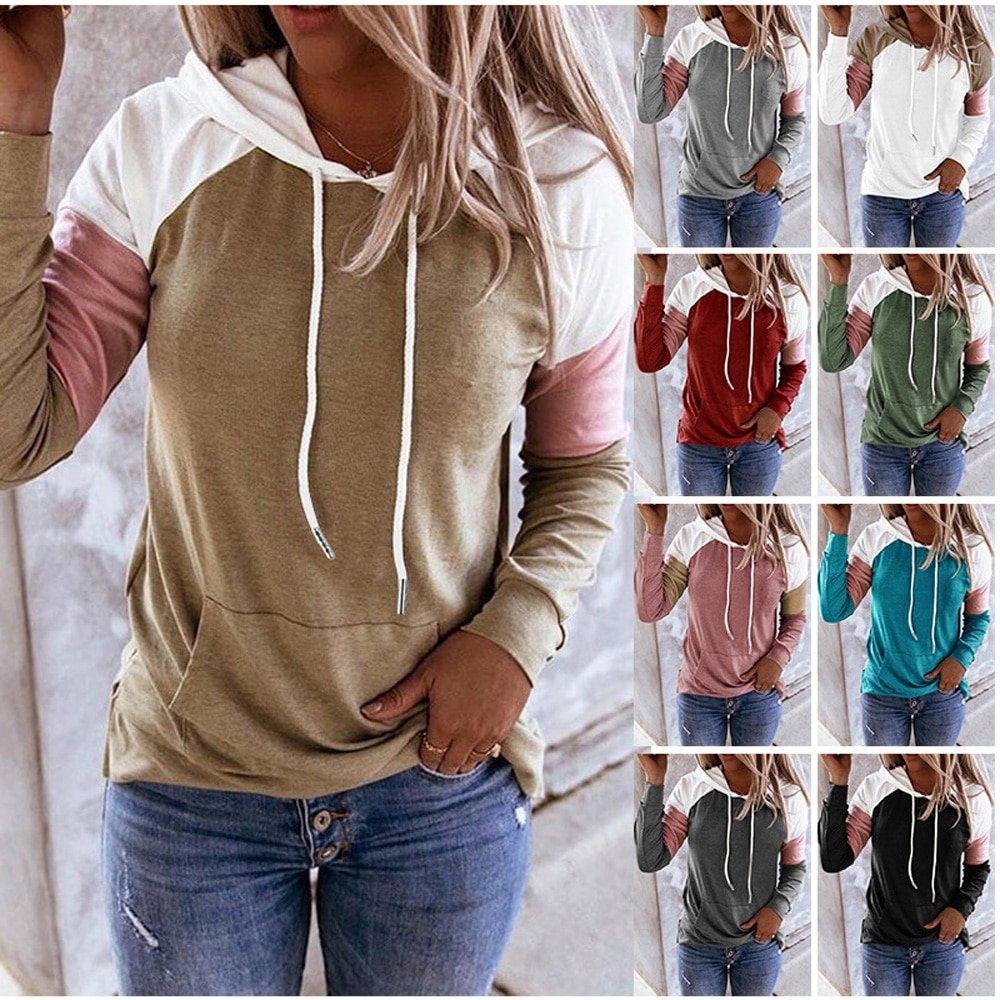 Women Hoodies Harajuku Casual Loose Long Sleeve Hooded 2021 Autumn Vintage Patchwork Sweatshirts Female Elegant Pullover Top 5XL
