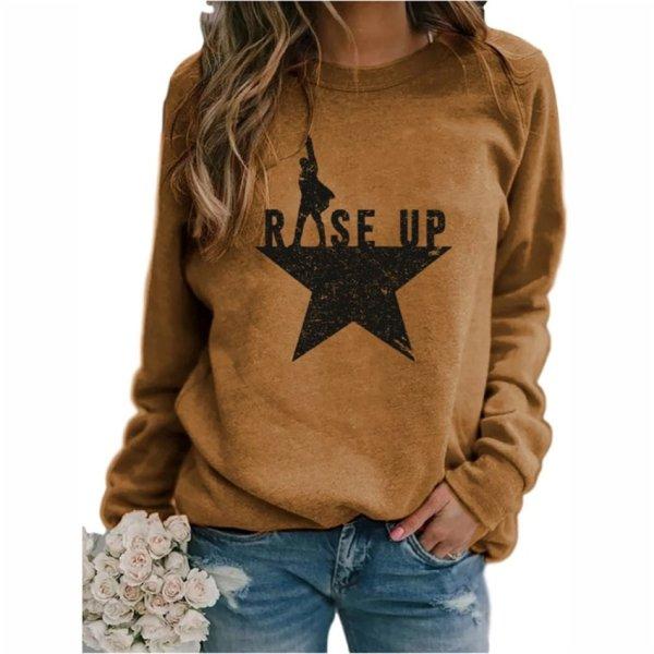 Stars Print Sweatshirts Women Long Sleeve Top Autumn New O-neck Sweatshirt Casual Female Loose Hoodies Datura Letter Pullover 1