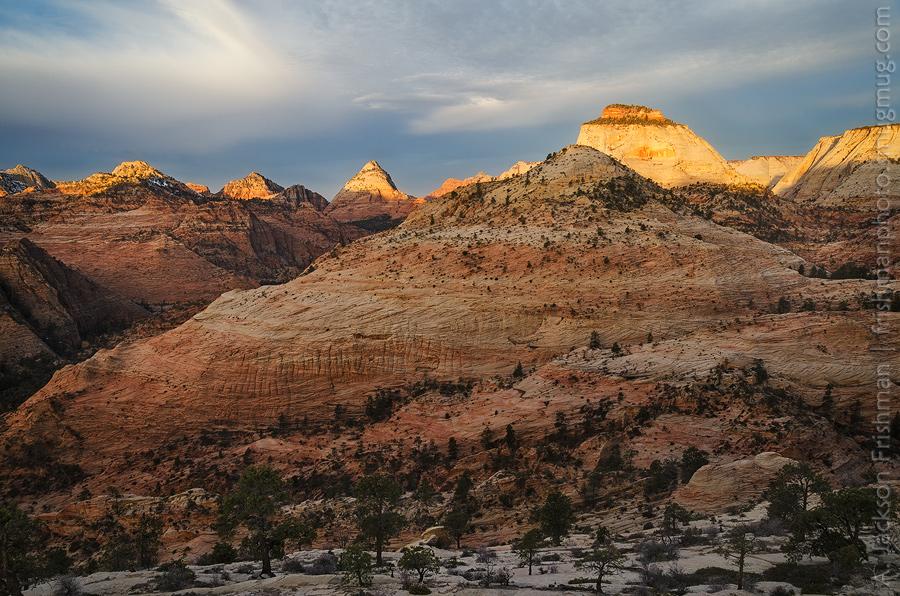 Sunrise on the East Temple, Zion National Park, Utah