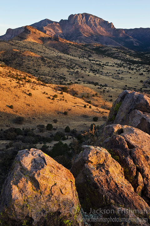 Vick's Peak towers over Luna Park at dawn, San Mateo Mountains, New Mexico