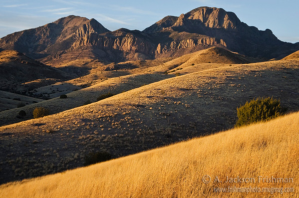 San Mateo Mountain and Vick's Peak at sunset, San Mateo Mountains, New Mexico