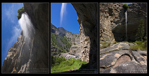 Three views of Veil Falls, Frank Church-River of No Return Wilderness, Idaho.