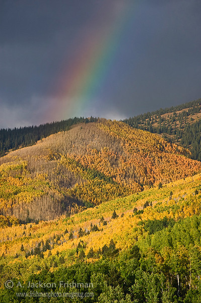 Autumn rainbow in Tesuque Basin, Sangre de Cristo Mountains, New Mexico