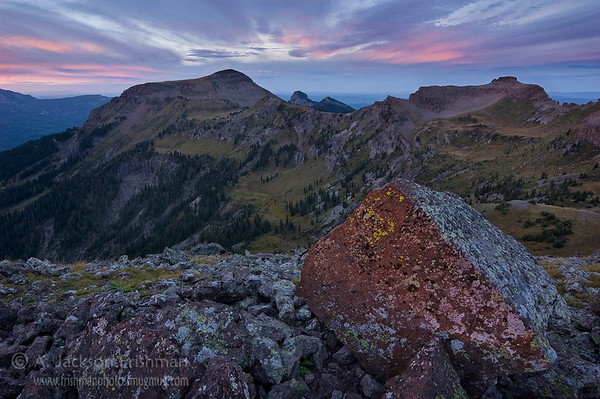 First instant of dawn above the Little Blanco Trail in Colorado's South San Juan Wilderness