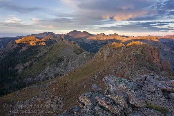 Sunset over the Continental Divide, South San Juan Wilderness, Colorado.