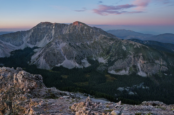 Day dawns over Middle Truchas Peak and Rio Quemado Basin, Pecos Wilderness, New Mexico