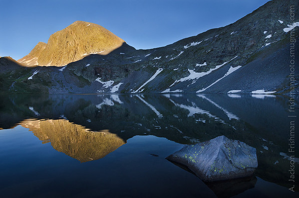 Sunset reflections on Rock Lake, Weminuche Wilderness, San Juan Mountains, Colorado