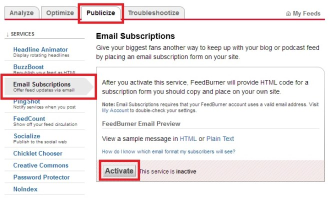 Feedburner - Activate email subscribtion