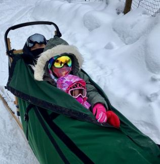 Family Dog Sled Ride at Frisky Pups Dog Sled Tours