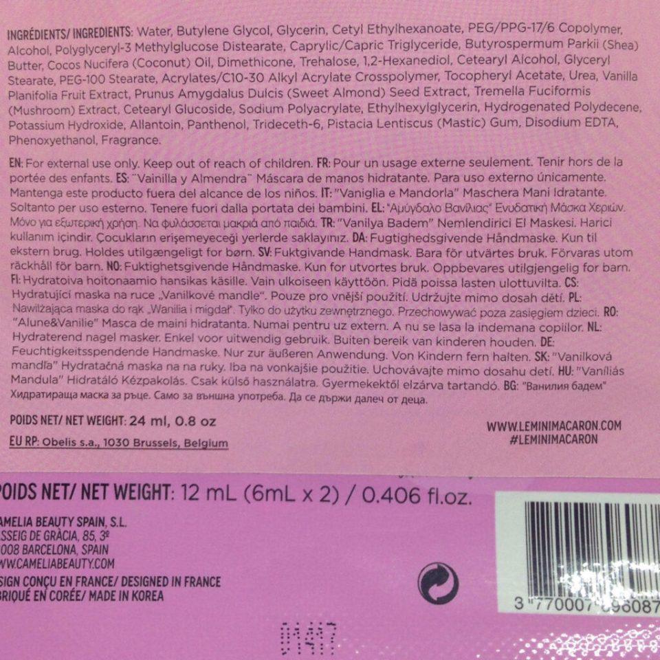 ingredients Mini macaron masque pour les mains blog frivole et futile