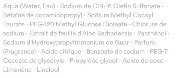 ingrédients shampooing hydratant gamme act now de la marque indola