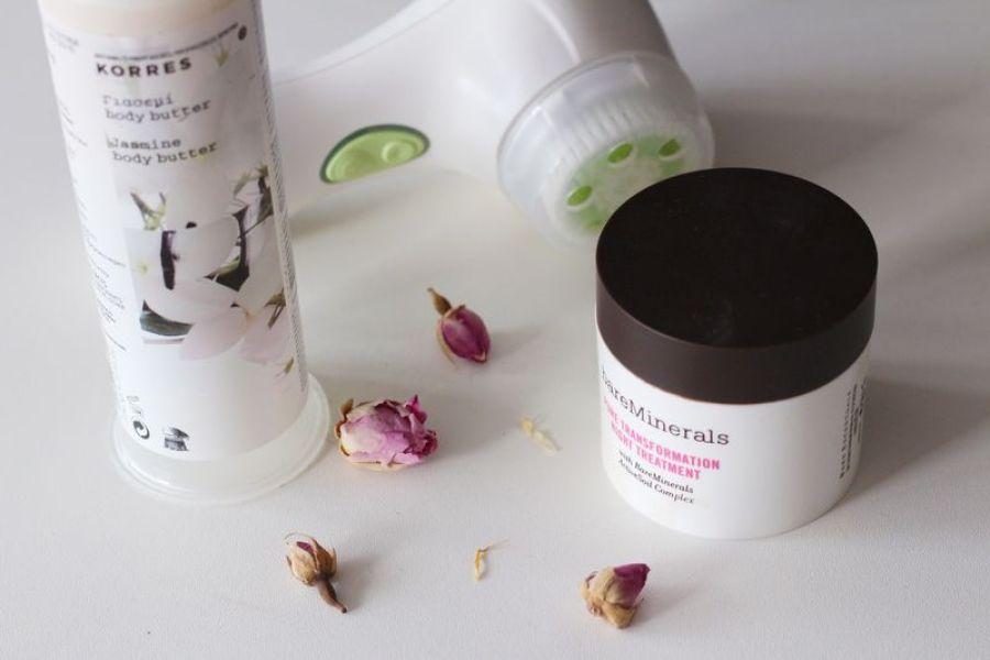 Korres body butter, clarisonic mia 2 acne, bareminerals night treatment