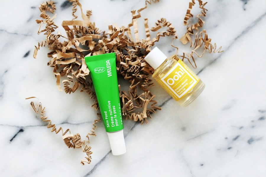 LoveLula Beautybox Weleda Skinfood and Oils of Heaven Marula Oil