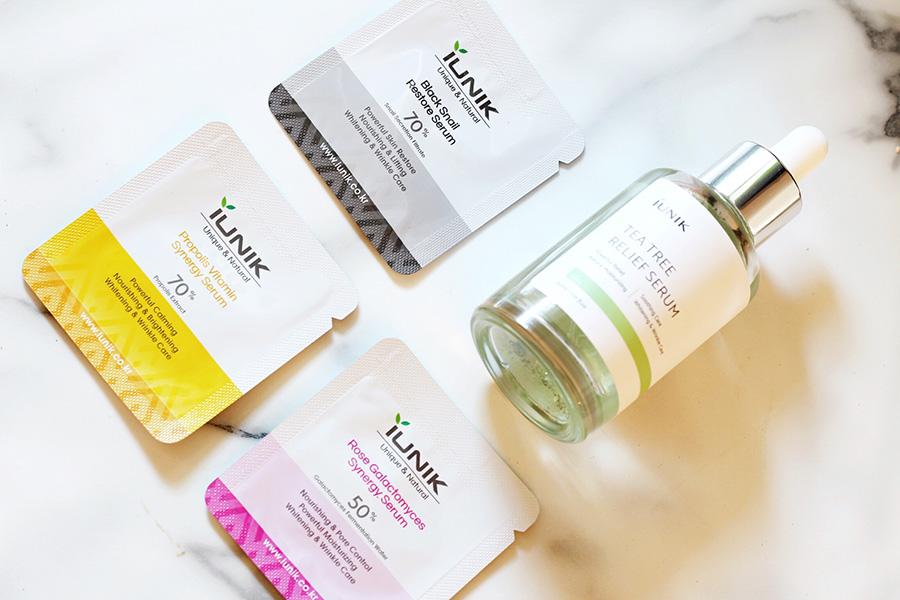 iUnik Black Snail serum, Rose Galactomyces Synergy Serum, Tea Tree Relief Serum and Propolis Vitamin Synergy Serum