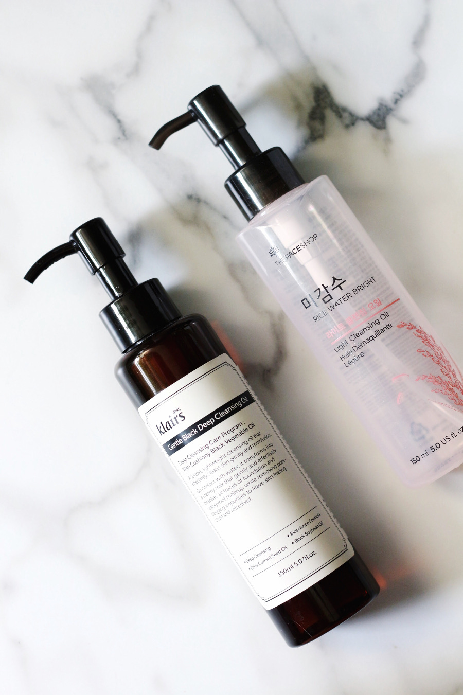Klairs Black Cleansing Oil and The Face Shop Light Rice Cleansing Oil