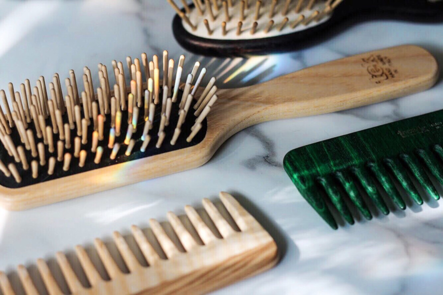 TEK wooden hairbrushes and comb