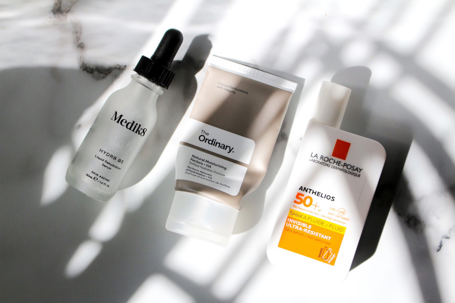 skincare routine Medik8 Hydr8 B5, The Ordinary Natural Moistruizing Factors, La Roche Posay Shaka Fluid