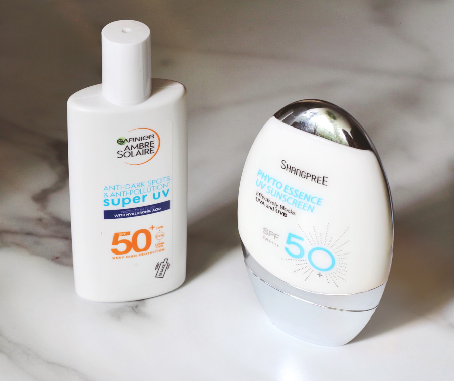 Best Sunscreen 2021 Garnier Super UV Fluid and Shangpree Phyto Essence SPF 50
