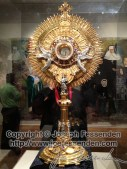 This monstrance was created from donated jewelry from the people of the City of New Orleans in the 1930s. No money was accepted; only gold and jewelry that was melted and formed into this.