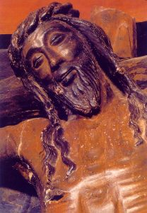 The Smiling Christ Crucifix from Castle of Xavier in Spain