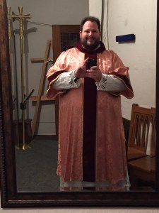 This is me vested to preach at St. Joseph, the parish in which I grew up.