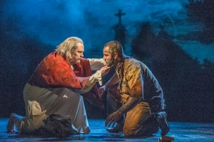 Adam Monley as the bishop and Ramin Karimloo as Jean Valjean Photo by Michael Le Poer trench