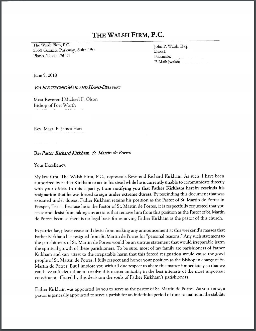 Letter Rescinding Fathers Resignation Frk Advocates