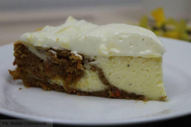 gulerodskage, gulerods-cheesecake-kage, kageopskrift, cheesecake, opskrift, kage