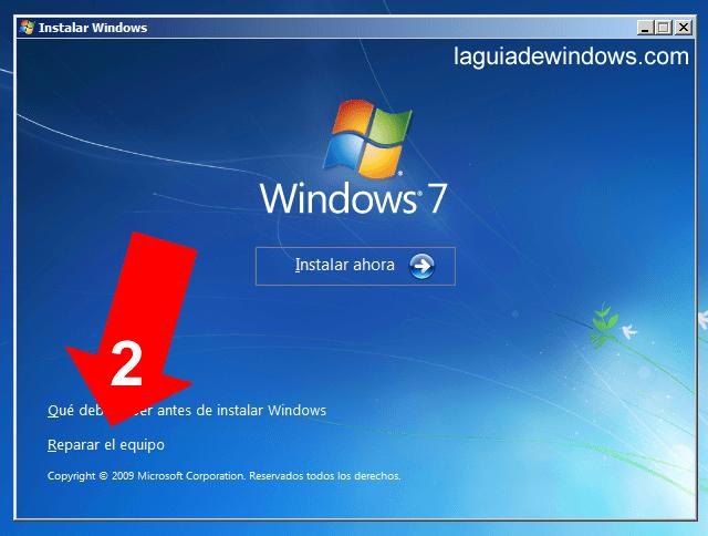 Reparar el inicio en Windows 7 (2/5)