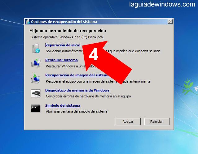 Reparar el inicio en Windows 7 (4/5)