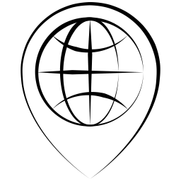 An outline of a dropped map pin in a thin pen style with a sketch of the globe at its center.